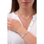 Pendentif croix latine en pavage de cristal blanc