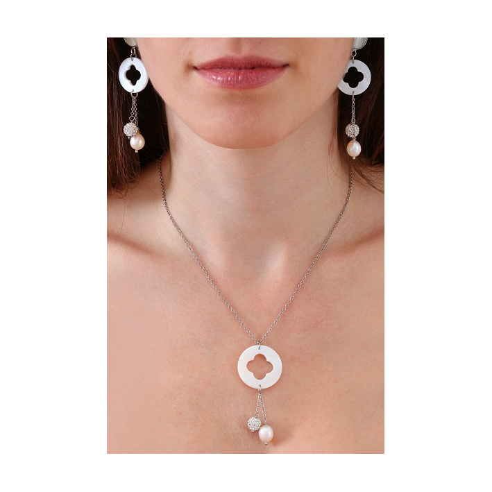 Collier pendentif trèfle de nacre et duo de véritable perle de culture blanche et shamballa scintillante