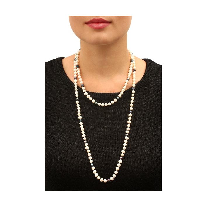 Sautoir perles de culture bicolore noires et blanches