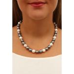 Collier perles de nacre naturelle gris douceur