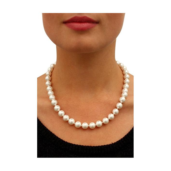 Collier perles de nacre naturelles blanches prestige