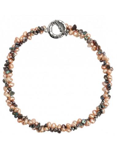 Collier prestige perles pétales rares rose