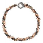 Collier perles de culture naturelle rares pétales grises et roses