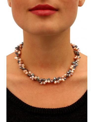 Collier perles de culture rares pétales grises et roses