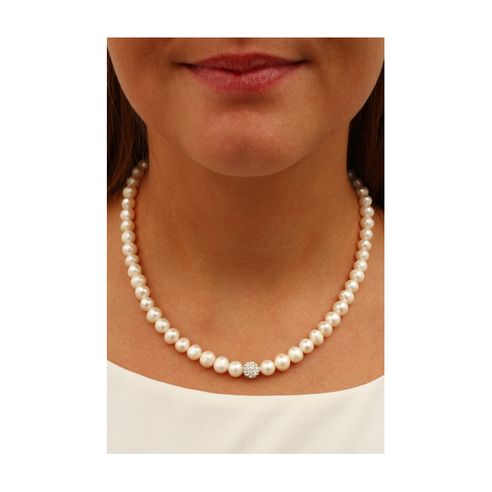 Collier Perles de cultures naturelles et Strass Shamballa blanc