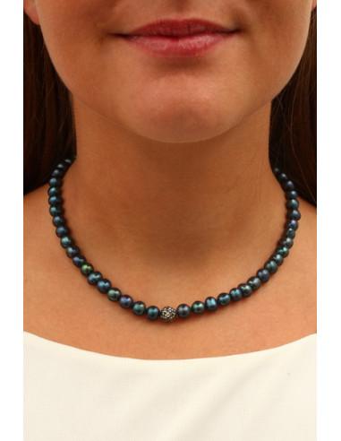 Collier perles de cultures et Strass Shamballa noir