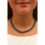 Collier Perles de cultures naturelles et Strass Shamballa noir