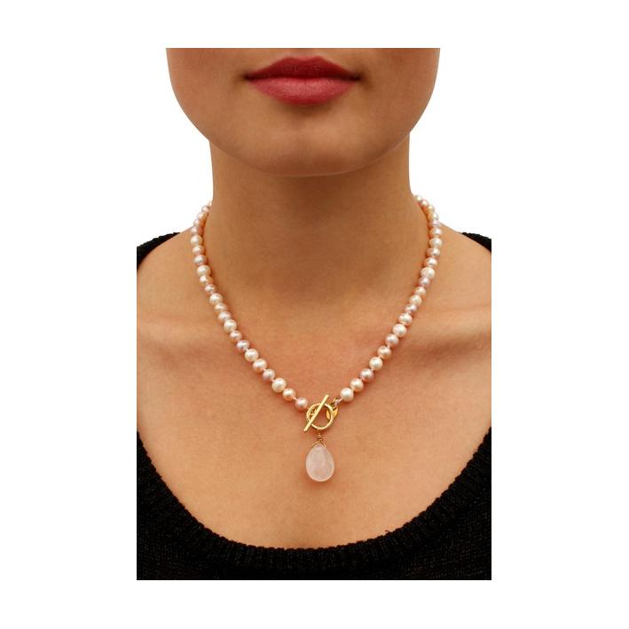 Collier perles de culture naturelles prestige goutte perle quartz rose