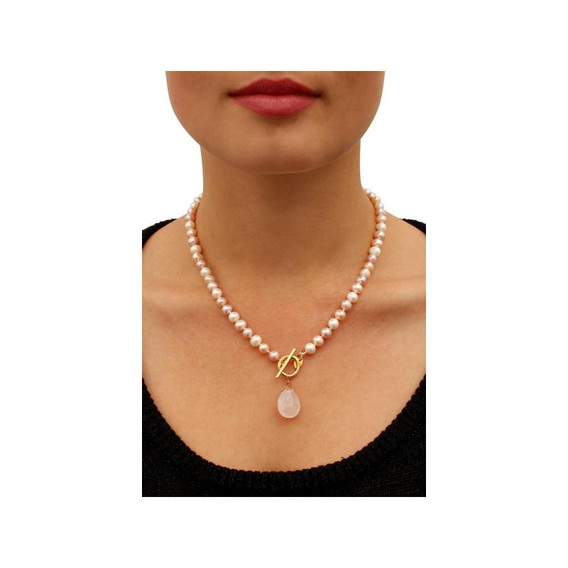 collier de perle de culture et perle quartz rose les perles. Black Bedroom Furniture Sets. Home Design Ideas
