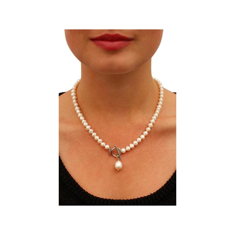 collier perle de culture blanche les perles. Black Bedroom Furniture Sets. Home Design Ideas