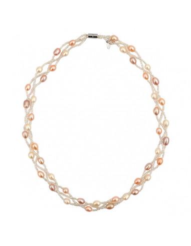 Collier 3 rangs perles de culture et de rocaille roses, pêches et parmes