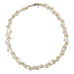 Collier 3 rangs perles de culture et de rocaille blanches