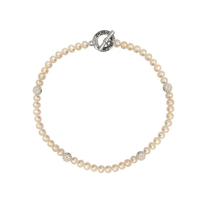 Collier alliance magnifiques perles de culture blanches naturelles et shamballa