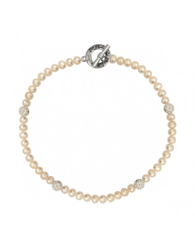 Collier alliance perles blanches et shamballa