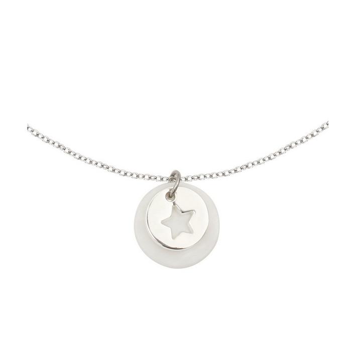 Collier silhouette étoile en métal argenté rhodié sur une métaille en nacre blanche