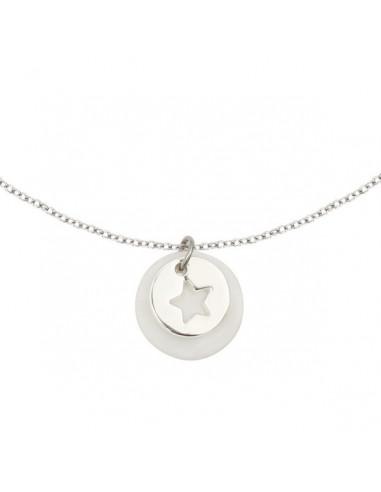 Collier silhouette étoile en métal argenté rhodié métaille nacre