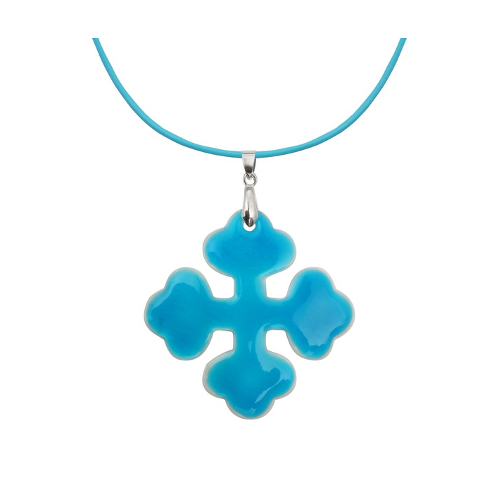 Pendentif croix occitane nacre naturelle blanche et émail bleu