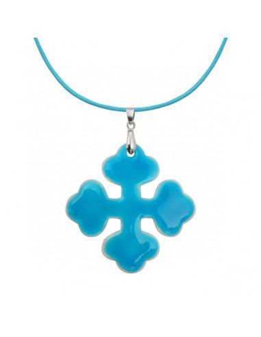 Pendentif croix occitane nacre blanche et émail bleu très brillant