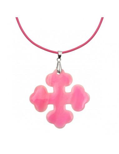 Pendentif croix occitane nacre blanche et émail rose très brillant