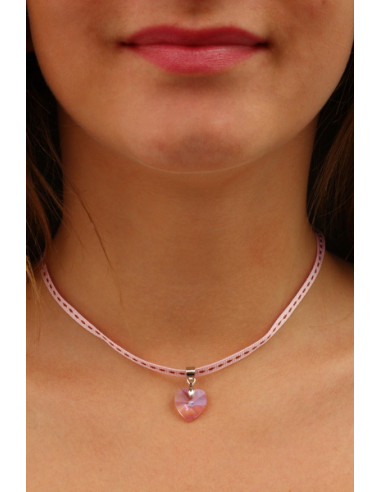 Collier coeur cristal rose bonbon