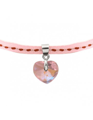 Collier pendentif coeur en cristal irisé sur ruban rose