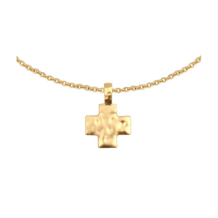 Pendentif ravissante croix en métal doré martelé