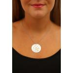 Pendentif disque filigrane nacre naturelle blanche motif coeurs