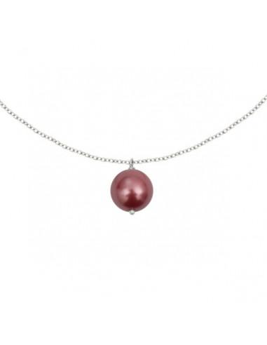 Collier irrésistible perle nacre rose foncé