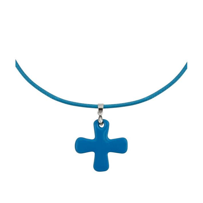 Collier Croix de nacre bleue sur cordon