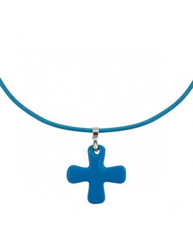Collier Croix de nacre bleue