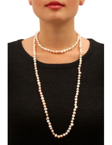 Sautoir Prestige perles de culture bicolore roses et pêches