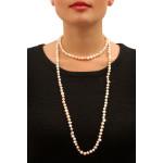 Sautoir Prestige perles de culture naturelles bicolore roses et pêches