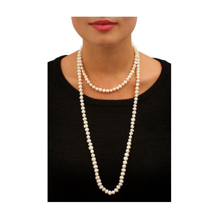 Sautoir Prestige perles de culture naturelles blanches