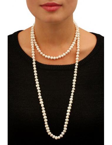Sautoir perles blanches de culture naturelles Prestige