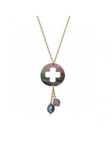 Collier pendentif trèfle de nacre noire et perle noire et shamballa