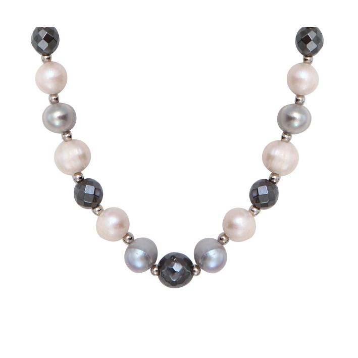 Collier Prestige perles de culture et hématite facettée
