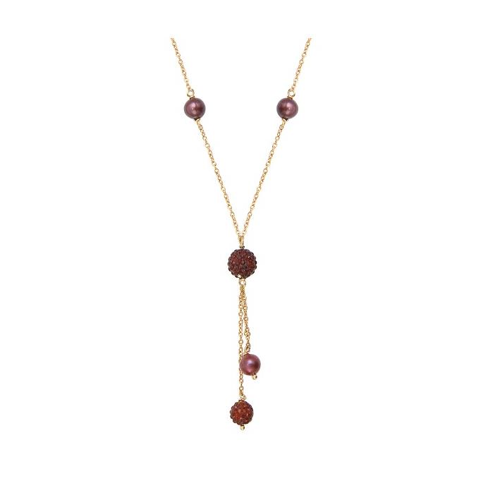 Collier cravate Strass shamballas cuivrés scintillants  et perles de culture dorées
