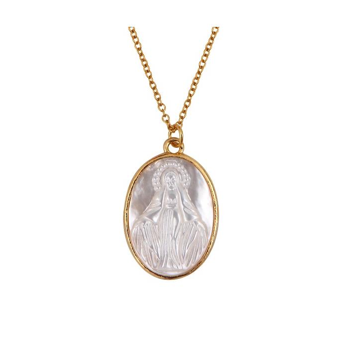Médaille vierge miraculeuse en nacre d'eau de mer évidée plaquée or