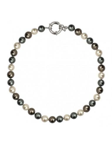 Collier perles de nacre dégradé argenté