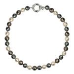 Collier perles de nacre en dégradé de gris
