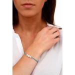 Bracelet double cordon bleu perle nacre blanche et shamballas
