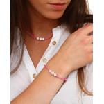 Bracelet double cordon rose perle nacre blanche et shamballas