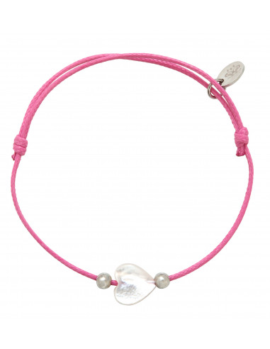 Bracelet coeur en nacre d'eau de mer sur cordon rose