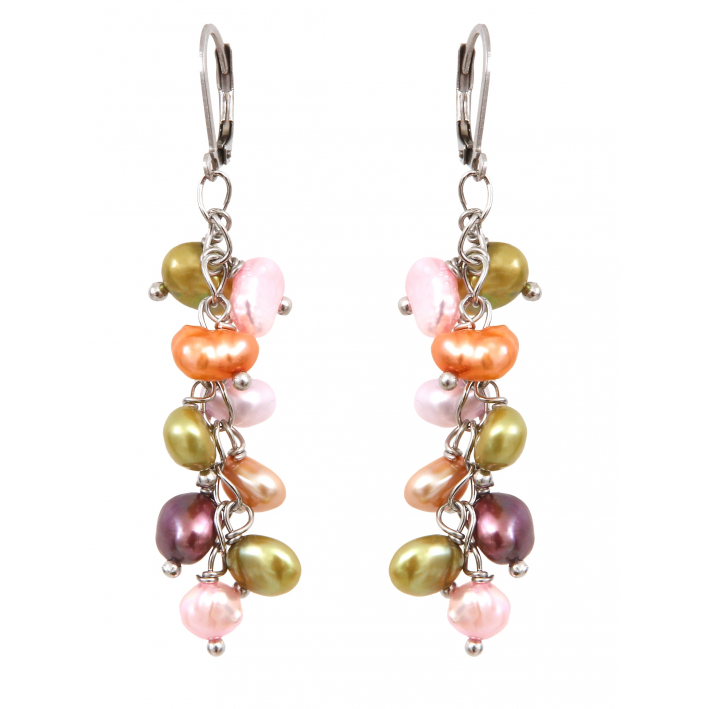 Boucles d'oreilles grappes de perles de culture multicolores