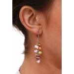 Boucles d'oreilles grappes de perles de culture multicolores