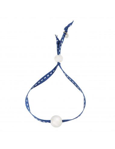 Bracelet une perle de nacre blanche sur sellier bleu marine