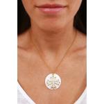 Médaille dorée Croix occitane dorée sur nacre naturelle