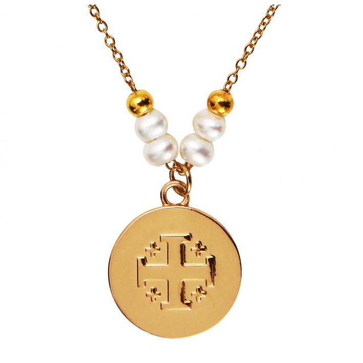 Médaille dorée Croix de Jérusalem avec message