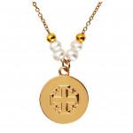 Collier pendentif médaille dorée Croix de Jérusalem avec message