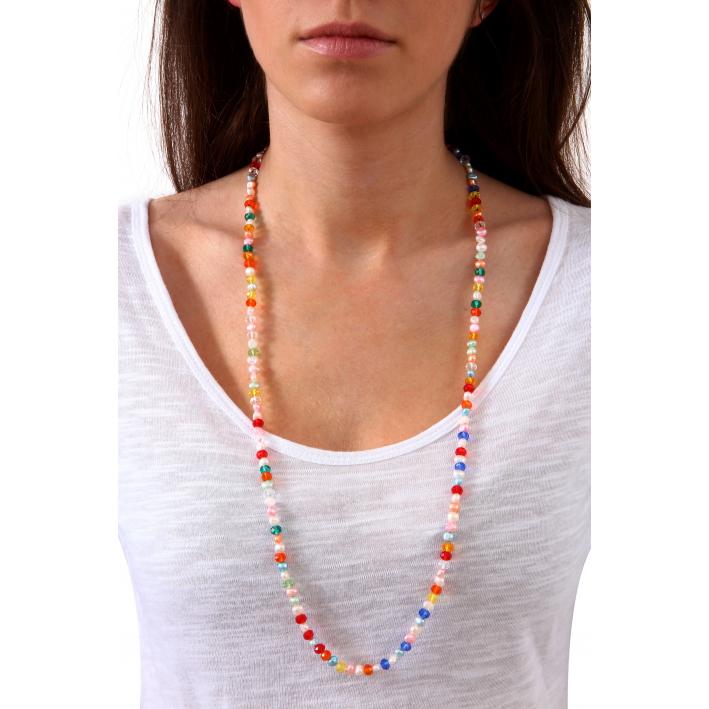 Sautoir alliance de perles de culture et de cristal multicolore